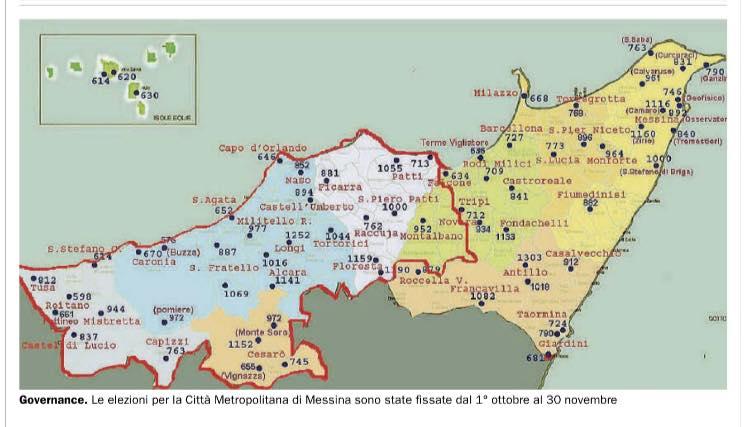 mappa elezioni area metropolitana di Messina