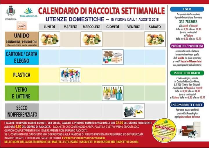 Calendario Rifiuti Santagata Di Militello.Le Troina Nuovo Calendario Per La Raccolta Previste Multe